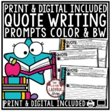 Quotes Writing Prompts -4th Grade, 5th Grade Reflecting on Inspirational Writing