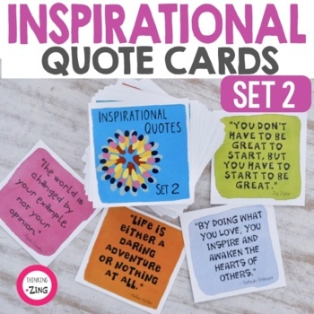Quote Cards Extraordinary Inspirational Quote Cards Set 48 By Wendy Baker ThinkingIQ TpT
