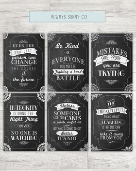 Inspirational Quote Chalkboard Posters, Tolkien, CS Lewis, Suess, 8x10