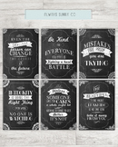 Inspirational Quote Chalkboard Posters, Tolkien, CS Lewis,