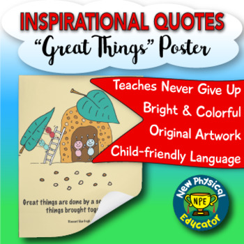 """Inspirational Quote """"Great Things"""" Health and Physical Education Poster"""
