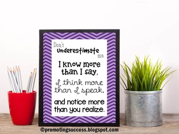 Special Education Quote Poster Don't Underestimate Me Clas