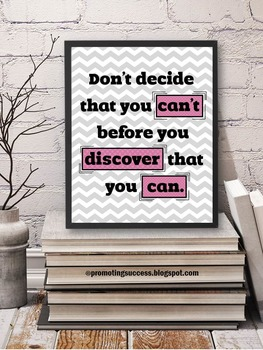 Growth Mindset Poster, Pink and Gray Classroom Theme, Encouragement Quote