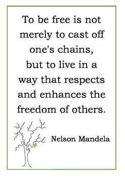 Inspirational Quote Poster [Mandela - Freedom and Respect] for classrooms