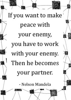 Inspirational Quote Poster [Mandela - Peace, Work, Partner] for classrooms