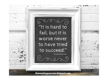 Theodore Roosevelt Inspirational Quote Poster Chalkboard Classroom Decor