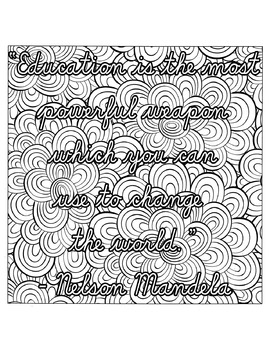 Inspirational Quote for Teachers - Art therapy, Zentangle, Adult Coloring, Relax
