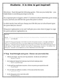 Inspirational Quotes New Year Goal Setting Writing Assignment
