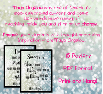 Inspirational Posters | Maya Angelou Quotes | Growth Mindset | Classroom Decor