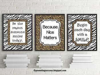Inspirational Quote Posters Animal Print Zebra Theme 8x10 or 16x20