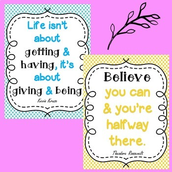 Inspirational Quotes Posters- Classroom Display (Spots and Dots Theme)