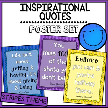 Inspirational Quotes Posters- Classroom Display (Stripes Theme)