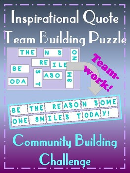 Inspirational Quotes Team Community Building Challenge Puzzle - Growth Mindset