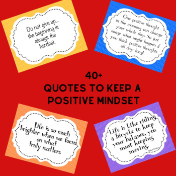 Positive Mindset Quotes Primary Colors to Use in your Classroom or Office