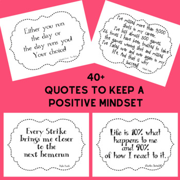 Positive Mindset Quotes With White Background To Use In Classroom Or