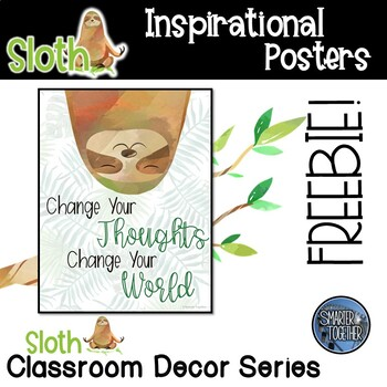 Inspirational Sloth Classroom Decor Poster Sample Freebie