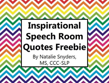 Inspirational Speech Language Therapy Room Quote Posters -