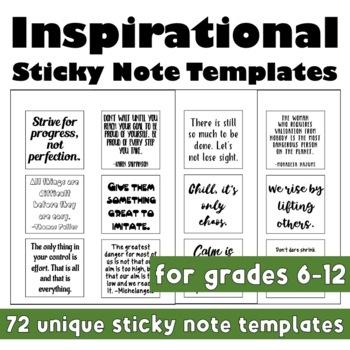Back to School: Inspirational Sticky Note Templates