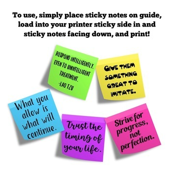 Back to School: Inspirational Growth Mindset Sticky Note Templates
