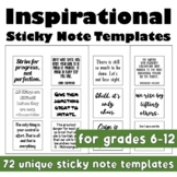 Inspirational Growth Mindset Sticky Note Templates (Back to School)