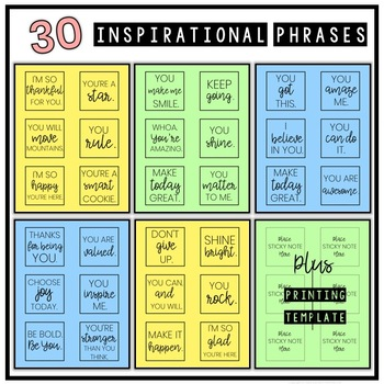 Inspirational Sticky Notes for the Classroom - Motivational Notes for Students