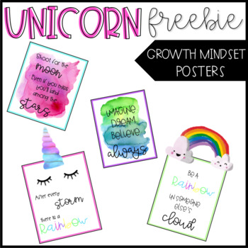 Unicorn Growth Mindset Posters - FREEBIE
