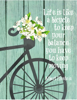"Inspirational quote - ""Life is like a bicycle"" Einstein - 8.5""x11"" or  any size"