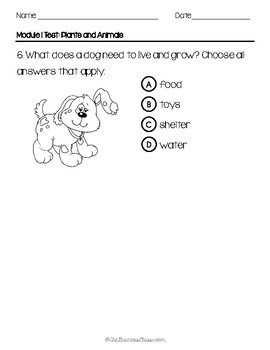 Inspire Science Kindergarten Module 1 Test
