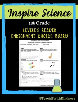 Inspire Science CHOICE BOARD Leveled Reader Enrichment-1st Grade