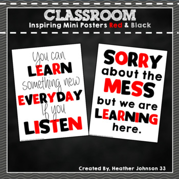 Inspiring Classroom Mini Poster: Red and Black