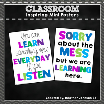 Inspiring Classroom Mini Posters Green, Blue and Purple