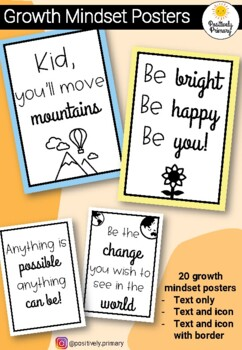 Inspiring Growth Mindset Classroom Quotes - Black and White = Printer Friendly!