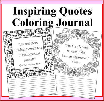 Inspiring Quotes Lined Coloring Journal Pages
