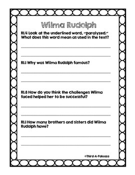 Inspiring Student Leaders: Wilma Rudolph CCSS Aligned Questions and Passage
