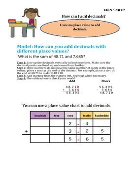 Add Decimals InstaChart