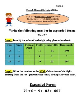 InstaChart Expanded Form and Expanded Notation