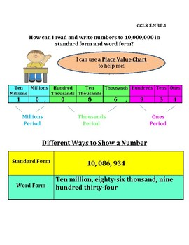 Read & Write Numbers to 10,000,000 in Standard Form and Word Form InstaChart