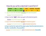 Read and Write Decimals InstaChart