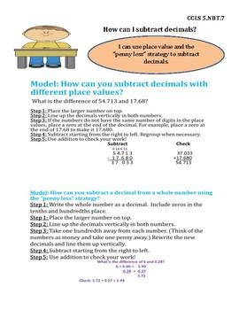 Subtract Decimals InstaChart