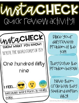 InstaCheck--Quick Review Activity