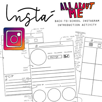 Instagram All About Me Introduction Activity [Get-to-Know-You Exercise]