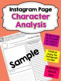Instagram Character Analysis Template. (Word Document)