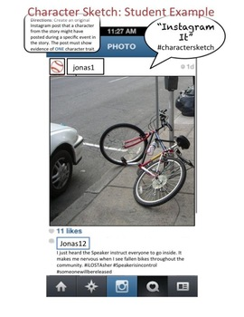 Instagram Character Trait Activity: ANY Book, DIGITAL VERSION, CCSS