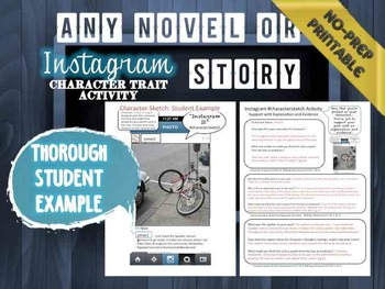 Instagram Character Trait Activity: ANY Book, No-Prep, CCSS, Student Example