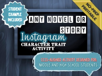Instagram Character Trait Activity: ANY Book, No-Prep, CCS
