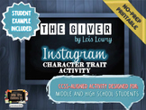 """The Giver"" Instagram Character Trait Activity: No-Prep, C"