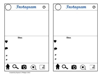 Instagram Exit Ticket ~Eco Friendly Template Easy on Ink & Paper~