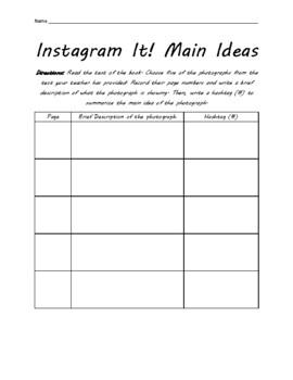 Instagram It! Main Idea with Toni Morrison's Remember