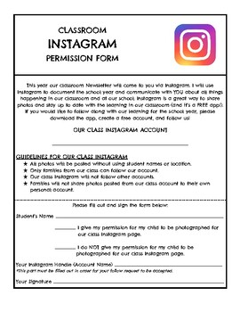 Instagram Permission Form
