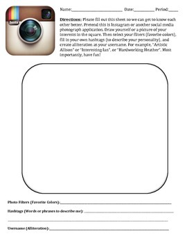 """Instagram Profile """"Getting to Know You"""" Handout"""